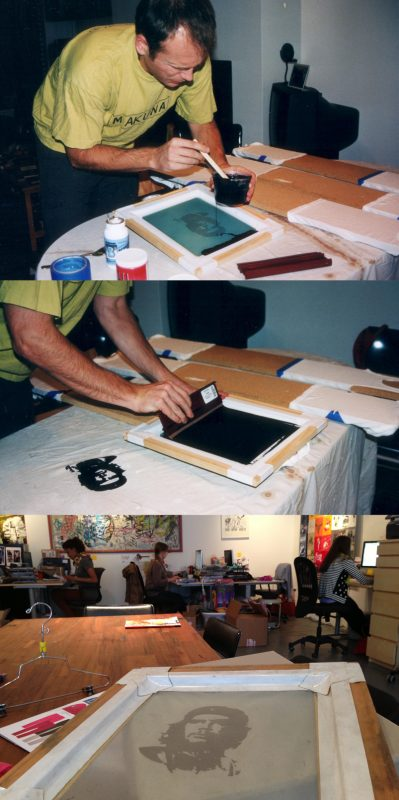 Harald making Appaman's first ever print (top); Appaman HQ today (bottom)