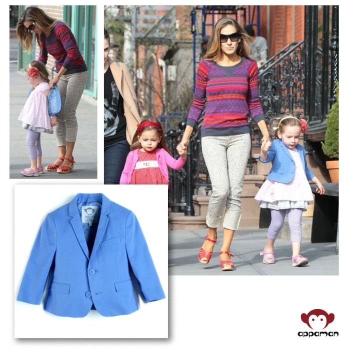 Sarah Jessica Parker's daughter, Loretta, is wearing Appaman's Boutique Blazer in Huckleberry