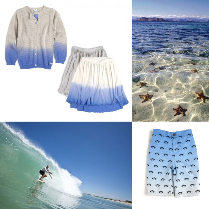 Chelsea Cardigan in Moonshadow; Katie Skirts in Moonshadow and Huckleberry; Logo Swim Shorts in Monterey