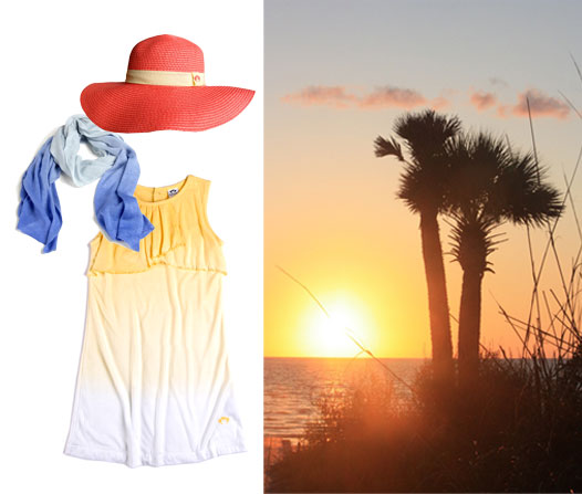 Floppy Hat in Coral; Ombre Scarf in Huckleberry; Ivy Dress in Sunrise