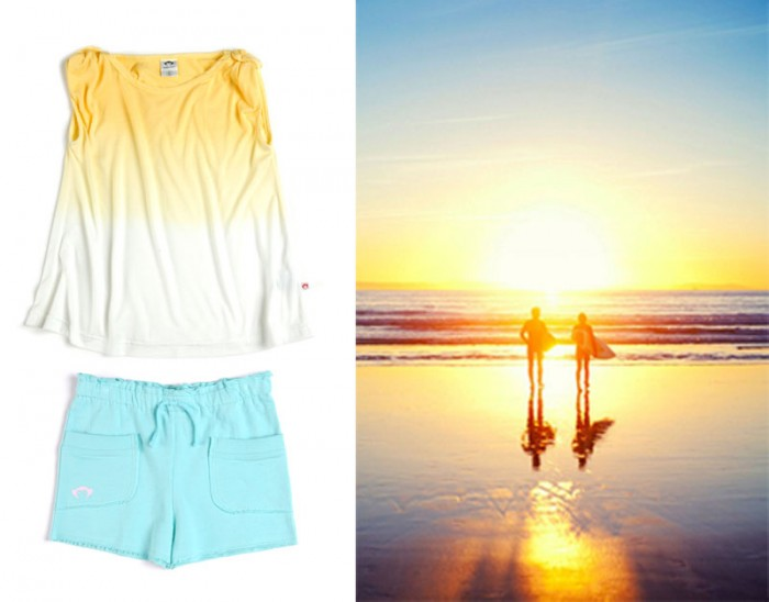 Wavy Tank in Sunrise; Softie Shorts in Aqua