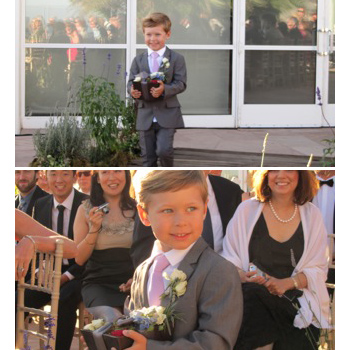 A happy ring bearer in the Mod Suit