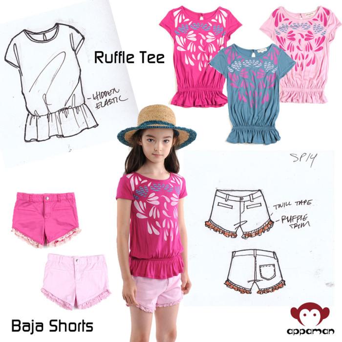 Ruffle Tee, Baja Shorts