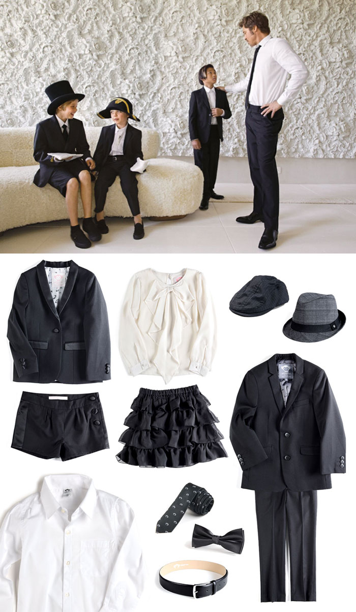 Featured: Girls' Tuxedo Blazer and Shorts, Cascade Bow Blouse with Ruffle Skirt, Newsboy Cap, Fedora, Mod Suit, Standard Shirt, Black Logo Tie, Black Bow Tie, and Dress Belt