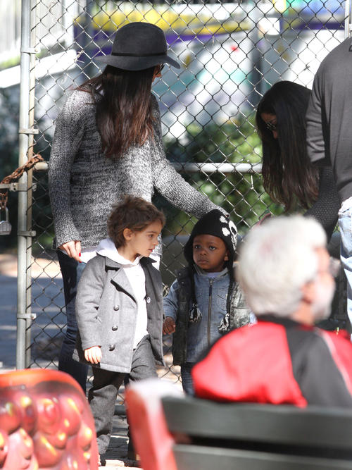 Levi McConaughey in 2012, wearing his Appaman Pea Coat while out on a playdate with mom Camila Alves, accompanied by Sandra Bullock and her son Louis.