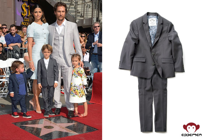 Levi McConaughey wears Appaman's Mod Suit in Vintage Black at dad Matthew McConaughey's Hollywood Walk of Fame celebration