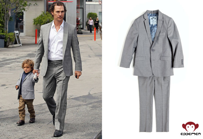 Left: Livingston McConaughey wearing the jacket from his Appaman Mod Suit. Right: Appaman Mod Suit in Mist, $150 on Appaman.com
