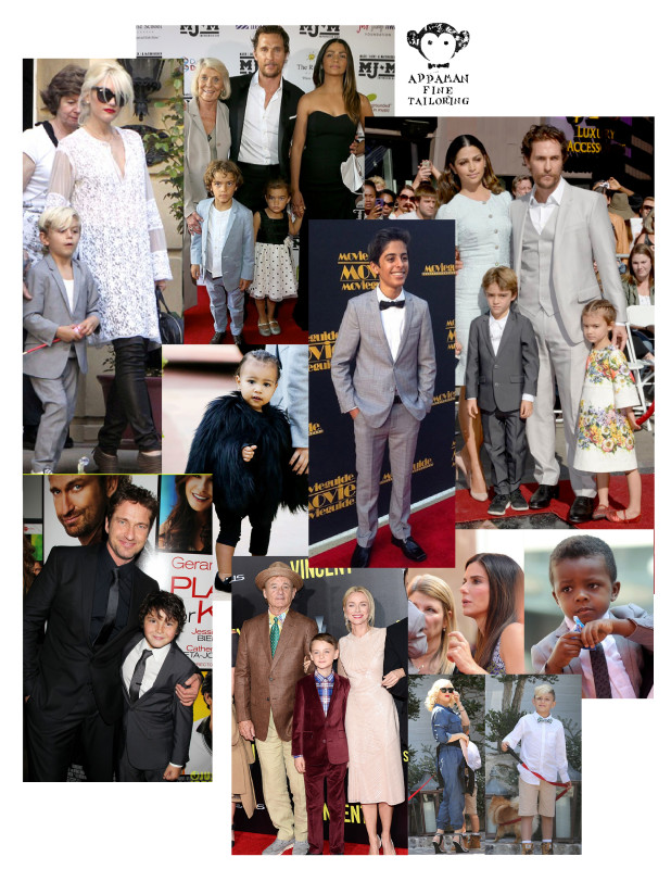 "Clockwise, from top left: Kingston Rossdale (pictured with mom Gwen Stefani) wearing the Mod Suit in Mist; Levi McConaughey (with Matthew McConaughey & Camila Alves) wearing the Mod Suit in Chambray; Kim Kardashian and Kanye West's daughter North West (center) wearing the Faux Fur Coat in Black; Karan Brar (""Diary of a Wimpy Kid"") wearing the Mod Suit in Glen Plaid; Levi McConaughey wearing the Mod Suit in Vintage Black; Louis Bullock (son of Sandra Bullock) wearing the Mod Suit in Mist with a Logo Tie; Kingston Rossdale in the Trouser Shorts, Standard Shirt and Bow Tie; Jaeden Lieberher (with ""St. Vincent"" co-stars Bill Murray and Naomi Watts) wearing the Mod Suit in Maroon Velvet; Noah Lomax (with ""Playing for Keeps"" co-star Gerard Butler) wearing the Mod Suit in Vintage Black"