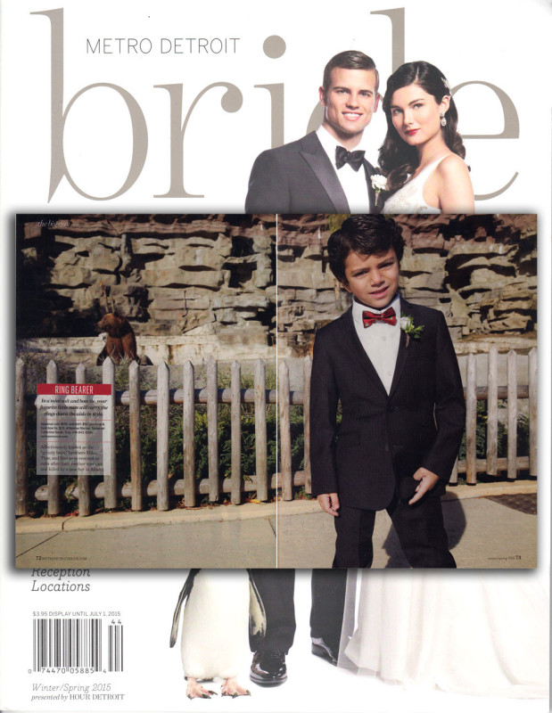 Metro Detroit Bride Winter/Spring 2015Featuring: Mod Suit in Black Pinstrips