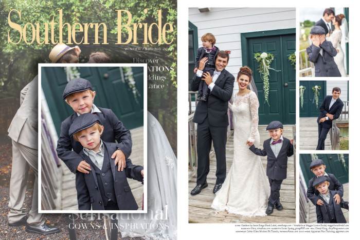 Southern Bride Fall/Winter 2015Featuring: Mod Suit in Black Pinstripe with matching Tailored Vest and Newsboy Caps, Standard Shirt, Bow Tie in Paisley