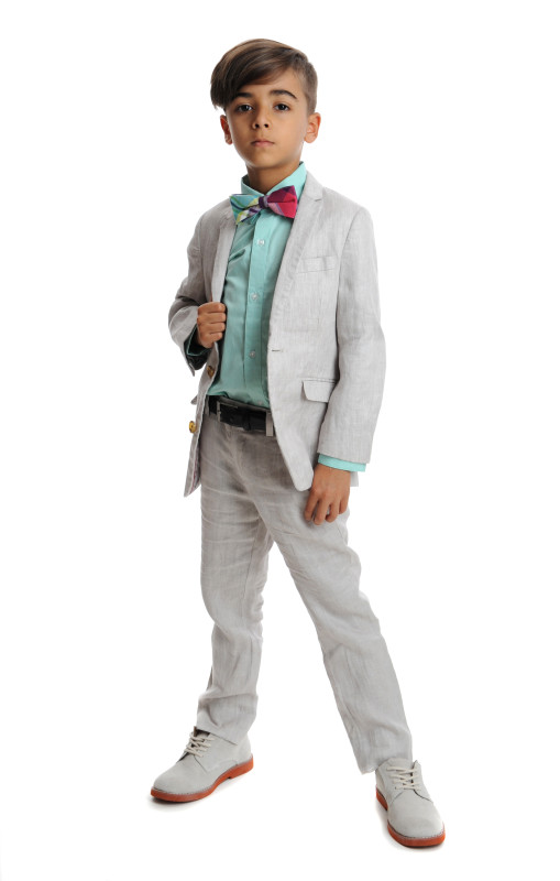 Mod Suit in Fog, Standard Shirt in Turquoise, Bow Tie in Orchid Plaid